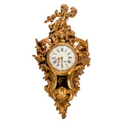 19th Century Raingo Frères Sculptural Ormolu Cartel Wall Clock with Cherub