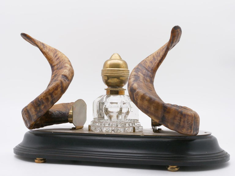 19th Century Ram's Horn Decorated Inkwell, Possibly Scottish For Sale 6