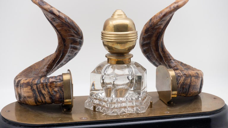 Victorian 19th Century Ram's Horn Decorated Inkwell, Possibly Scottish For Sale