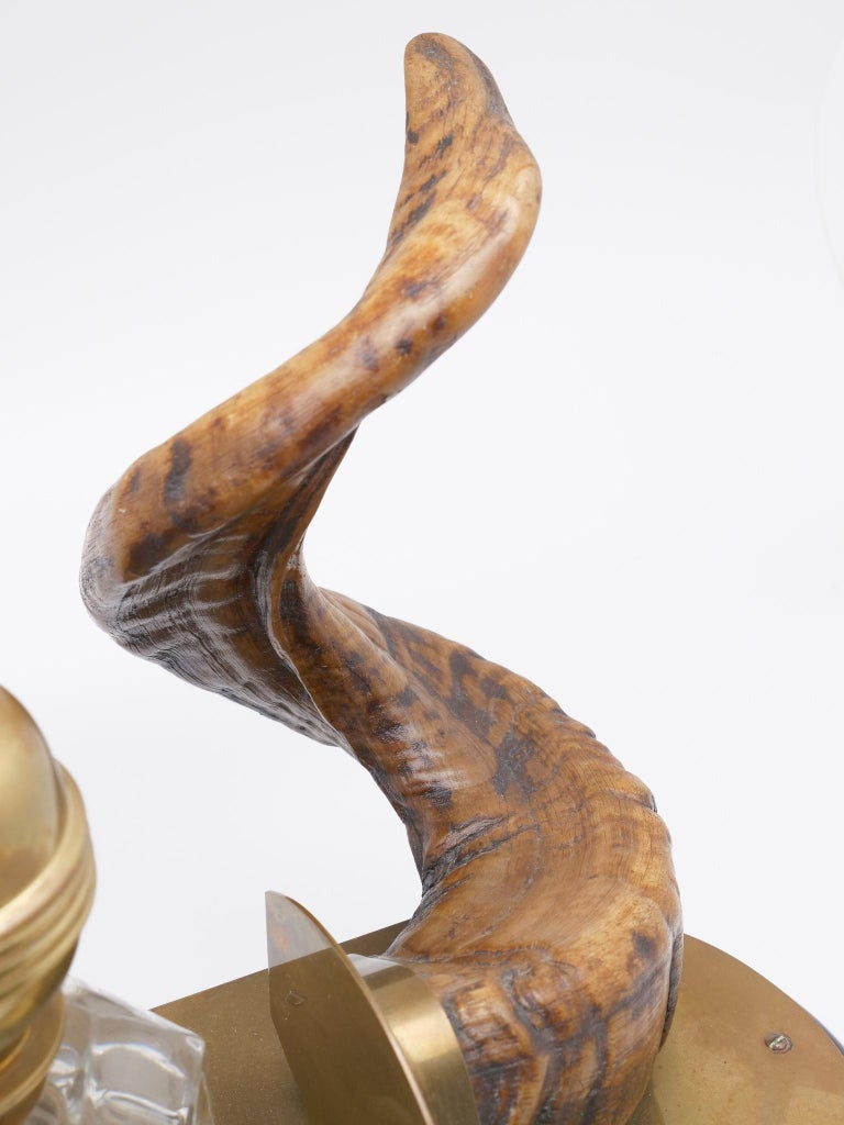 19th Century Ram's Horn Decorated Inkwell, Possibly Scottish In Good Condition For Sale In New York, NY