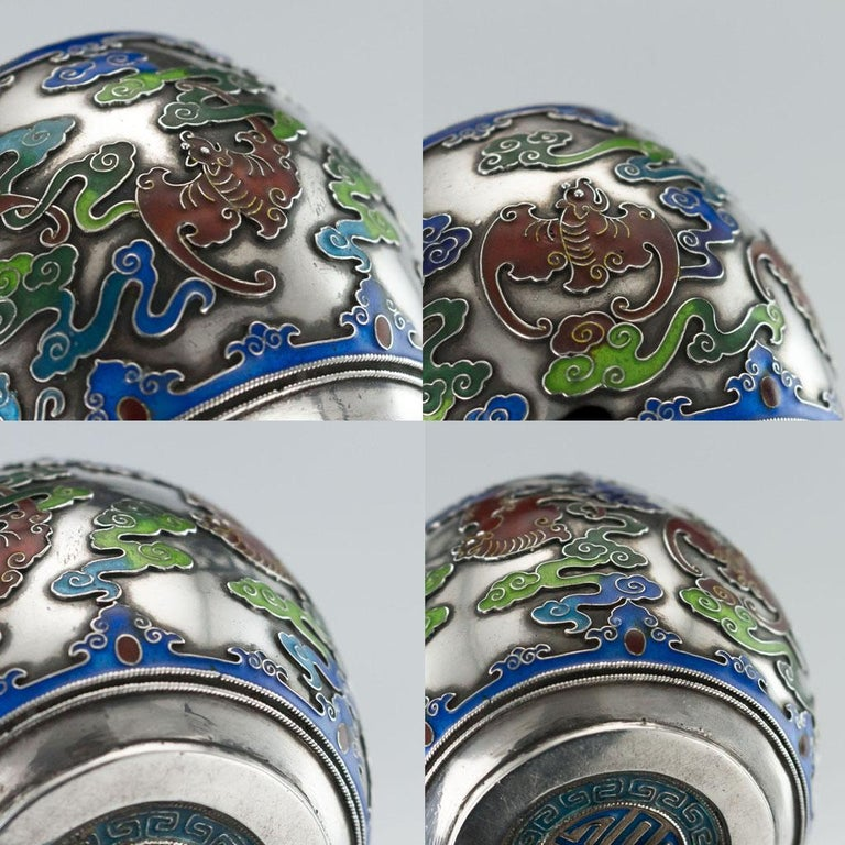 19th Century Rare Chinese Export Solid Silver and Enamel Pot, circa 1880 For Sale 10