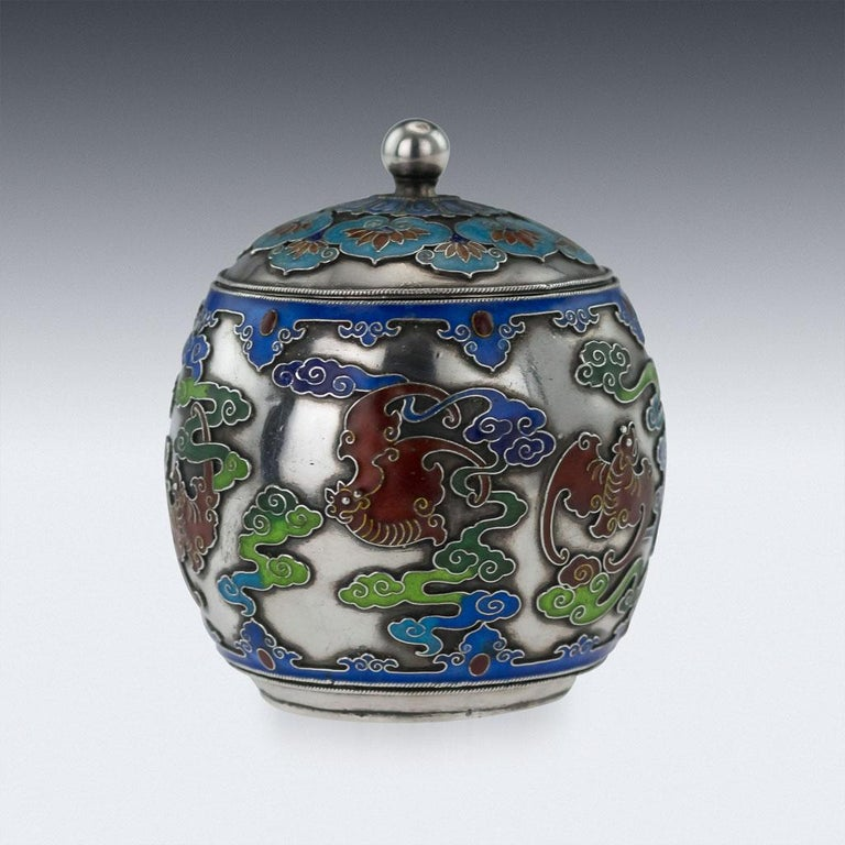 Antique 19th Century extremely rare Chinese solid silver and enamel pot with cover, the sides are decorated with shaded enamel, depicting bats amongst clouds (in Chinese culture bats are the symbol of happiness and joy). The base decorated with the