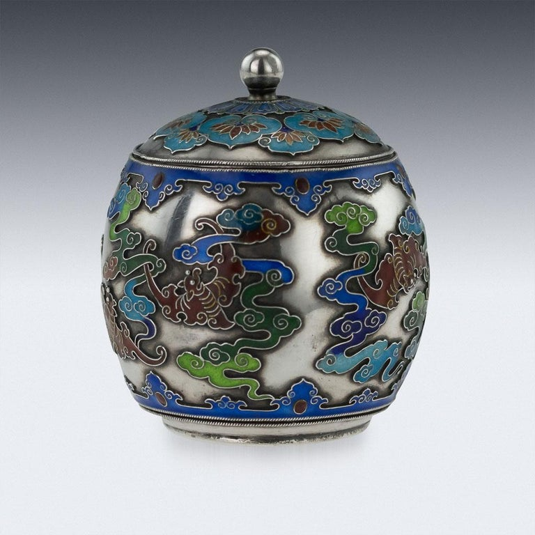 19th Century Rare Chinese Export Solid Silver and Enamel Pot, circa 1880 For Sale 1