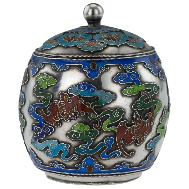 19th Century Rare Chinese Export Solid Silver and Enamel Pot, circa 1880 For Sale