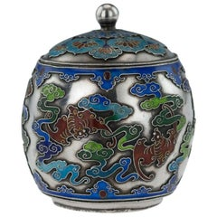19th Century Rare Chinese Export Solid Silver and Enamel Pot, circa 1880