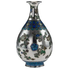 19th Century Rare Chinese Export Solid Silver and Enamel Vase, circa 1880