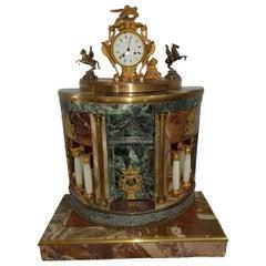 19th Century Rare Clock with Architecture Gilt Bronze Precious Marbles Silver