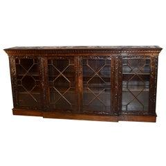 19th Century Rare Mahogany Carved Bookcase
