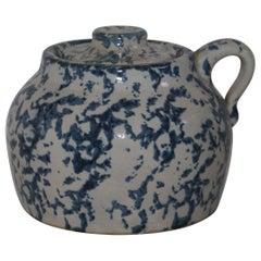 19th Century Rare Sponge Ware Pottery Bean Pot