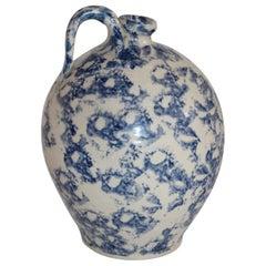 19th Century Rare Sponge Ware Pottery Jug