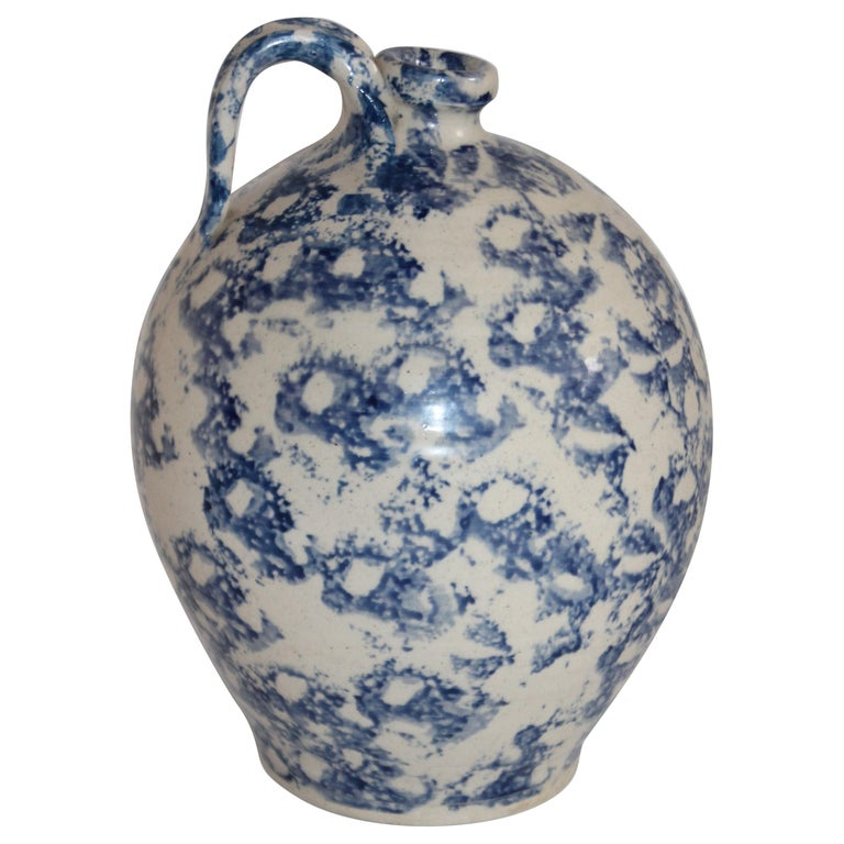 19th Century Rare Sponge Ware Pottery Jug For Sale