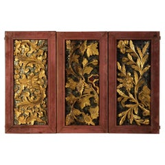 19th Century, Rattanakosin, A Set of Thai Wooden Panels with Flower Design