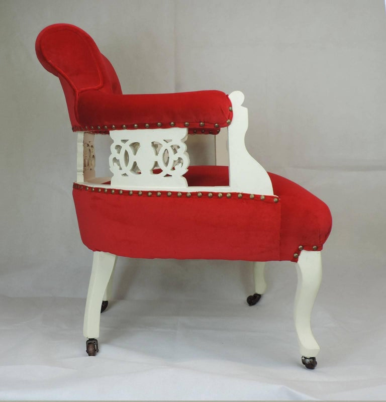 19th Century Read Velvet Victorian Tub Chair For Sale at 1stdibs