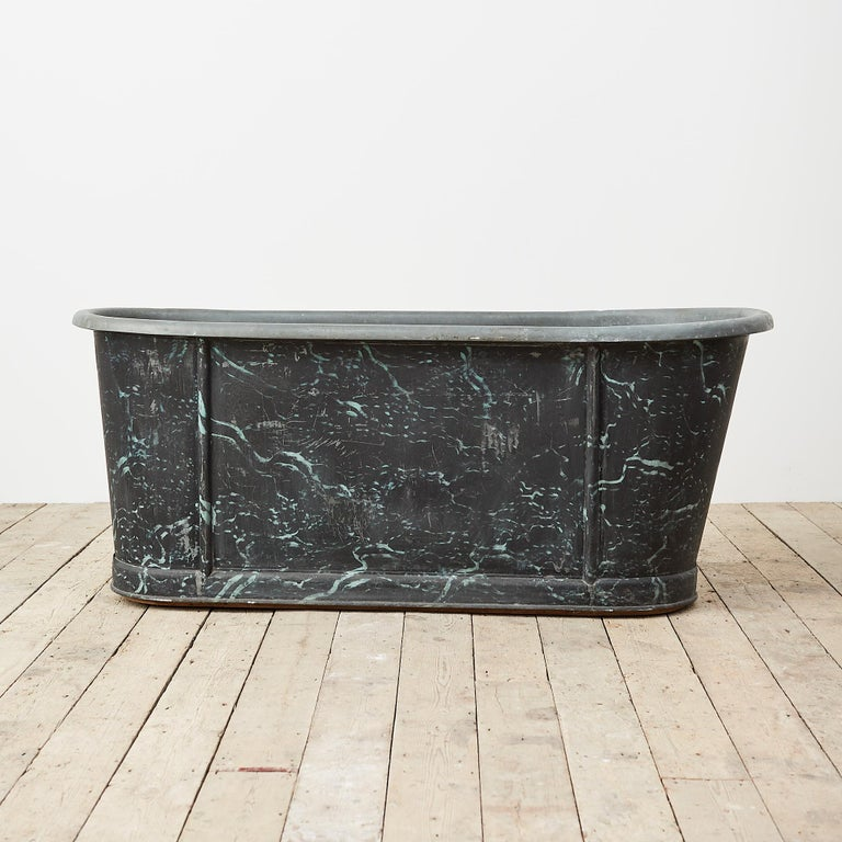 Painted 19th Century Reclaimed French Zinc Bath with Marbled Decoration For Sale