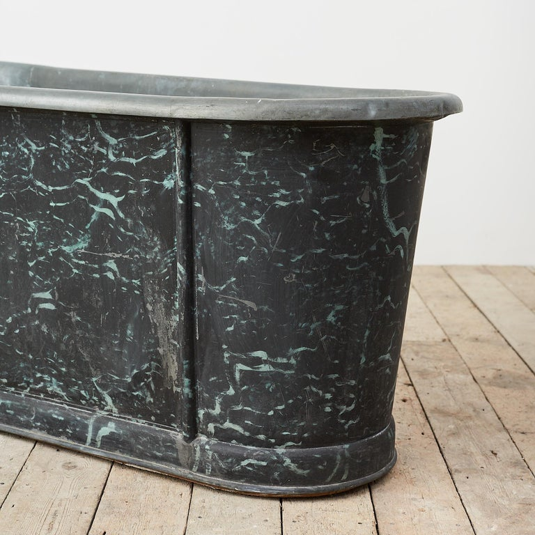 19th Century Reclaimed French Zinc Bath with Marbled Decoration For Sale 3