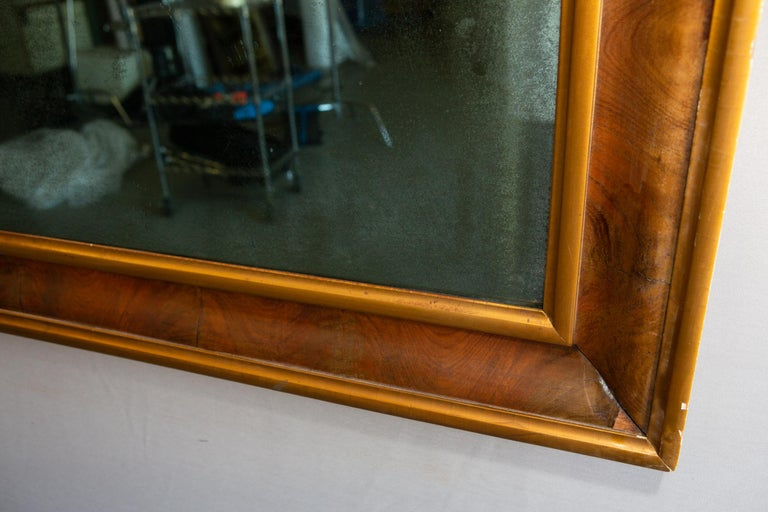19th Century Rectangular Aged Blue Glass Mirror For Sale 4
