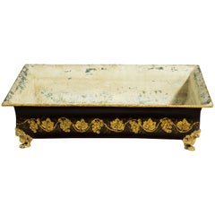 19th Century rectangular Tole Planter with decorated sides