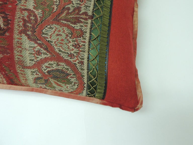 Anglo Raj 19th Century Red and Black Kashmir Paisley Lumbar Decorative Pillow For Sale