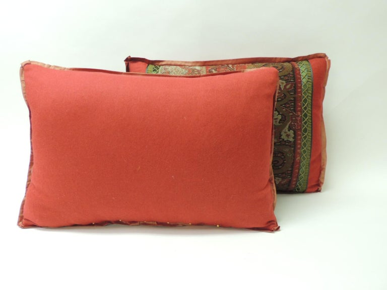 Indian 19th Century Red and Black Kashmir Paisley Lumbar Decorative Pillow For Sale