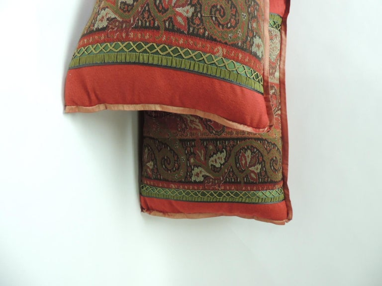 Hand-Crafted 19th Century Red and Black Kashmir Paisley Lumbar Decorative Pillow For Sale