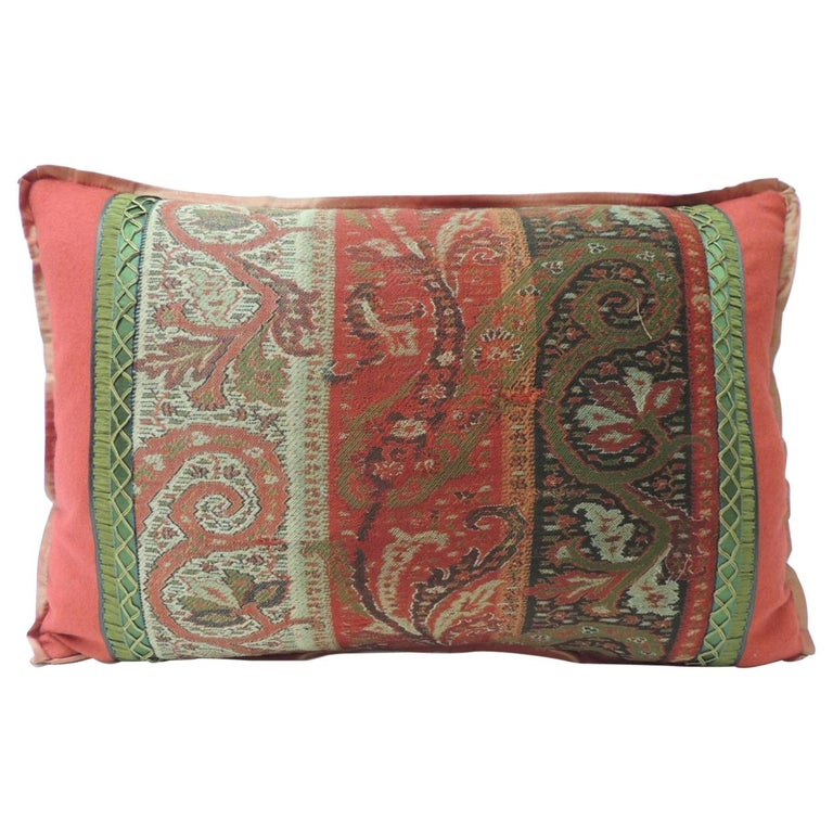 19th Century Red and Black Kashmir Paisley Lumbar Decorative Pillow For Sale