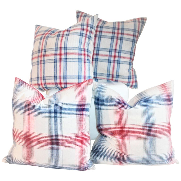 19th Century Red and Blue Linen Pillows / Collection of Four For Sale
