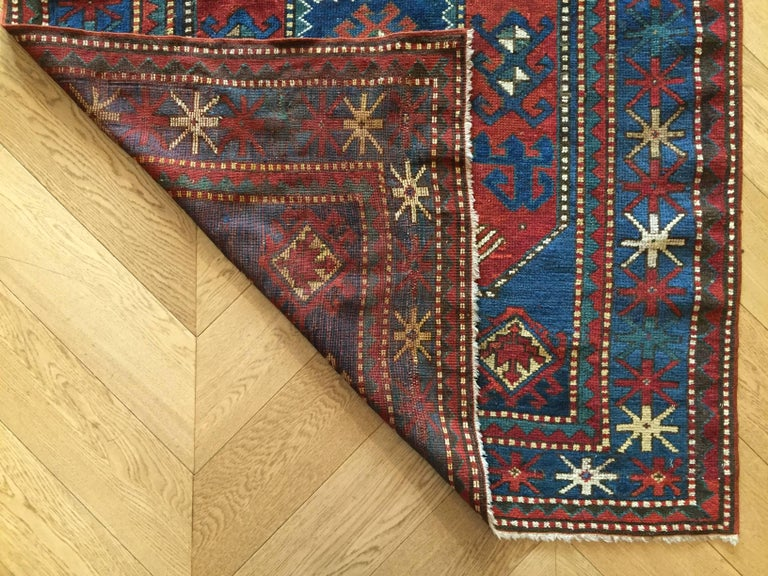 19th Century Red and Blue Wool Medallions Kazak Chajli Caucasian Rug, 1870s For Sale 9