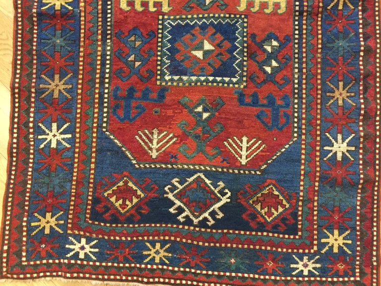 Hand-Knotted 19th Century Red and Blue Wool Medallions Kazak Chajli Caucasian Rug, 1870s For Sale