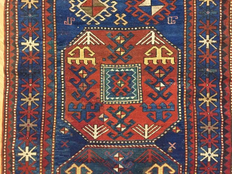 19th Century Red and Blue Wool Medallions Kazak Chajli Caucasian Rug, 1870s For Sale 1
