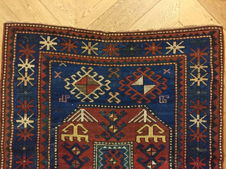 19th Century Red and Blue Wool Medallions Kazak Chajli Caucasian Rug, 1870s For Sale 2