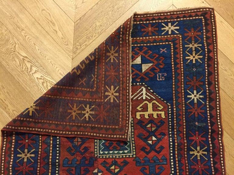 19th Century Red and Blue Wool Medallions Kazak Chajli Caucasian Rug, 1870s For Sale 3