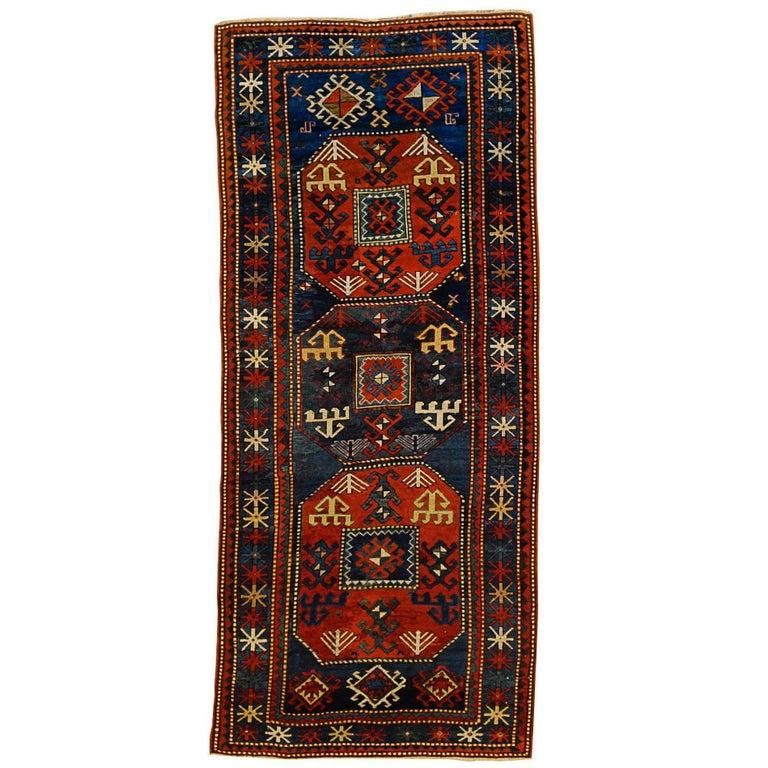 19th Century Red and Blue Wool Medallions Kazak Chajli Caucasian Rug, 1870s For Sale