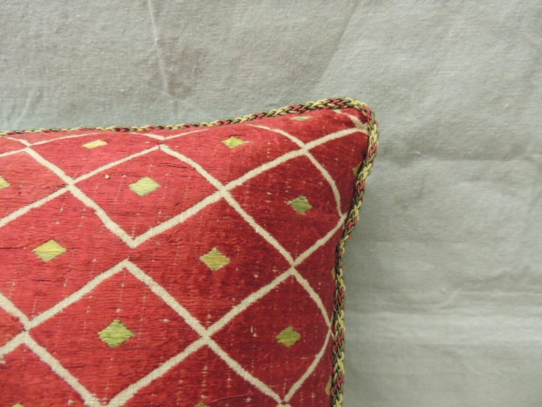 Moorish 19th Century Red and Yellow Embroidery Moroccan Silk Decorative Pillow For Sale