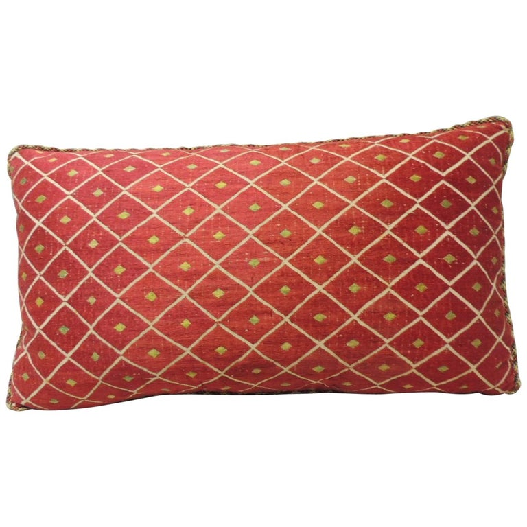 19th Century Red and Yellow Embroidery Moroccan Silk Decorative Pillow For Sale