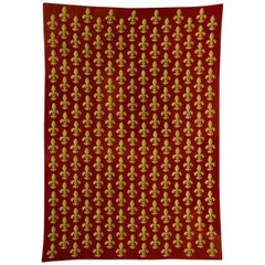 19th Century Red and Yellow Lily Embroidered France Rug, circa 1870