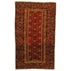 19th Century Red and Yellow Wool Mina-khani Shirwan Caucasian Rug, circa 1890s