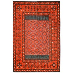 19th Century Red, Black and Green Colors over Antique Spanish Wool Rug