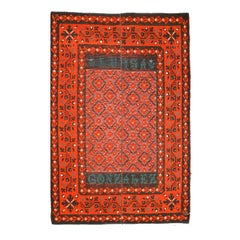19th Century Red, Black and Green Colors over Antique Spanish Wool Rug.