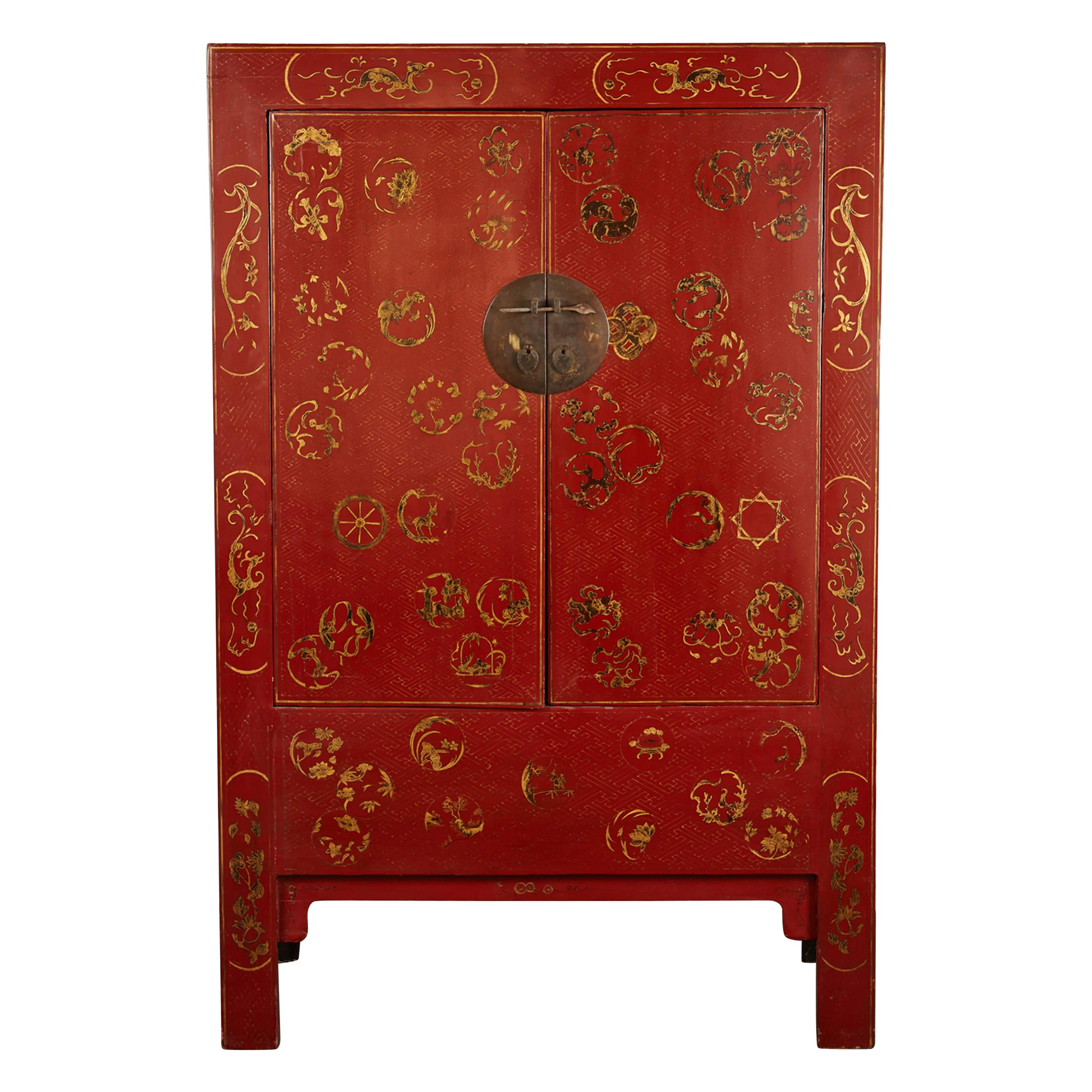 19th Century Red Century Chinese Cabinet