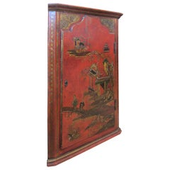 19th Century Red Chinoiserie Corner Cabinet with One Door