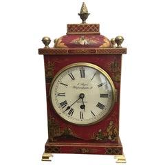 19th Century Red Chinoiserie English Bracket Clock