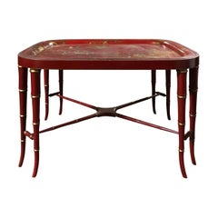 19th Century Red Chinoiserie Tray on Custom Stand as Coffee Table