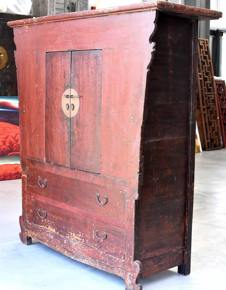 19th Century Red Crackle Cabinet, Northern Chinese For Sale at 1stdibs