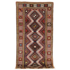 19th Century, Red Field and Ivory, Blue and Green Pattern, Borchalou Kazak Rug