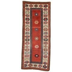19th Century, Red Field & Ivory Border, Wool Caucasian Talish Kazak Rug/Runner
