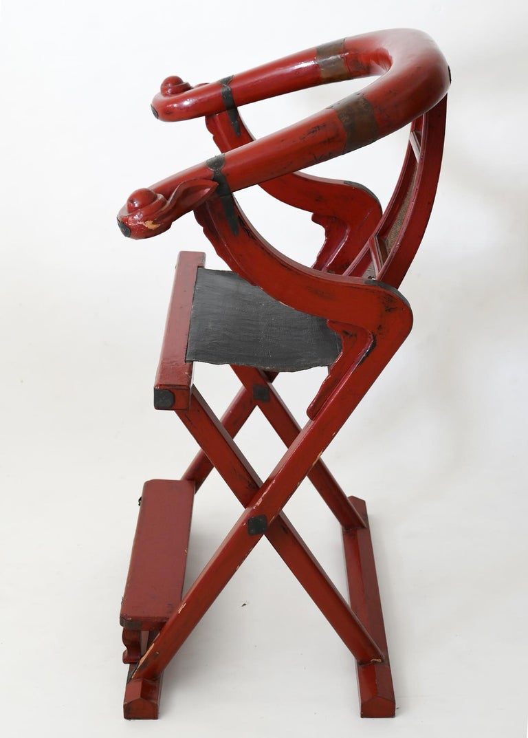 Chinese 19th Century Red Lacquer Folding Chair China Round Back Chair For Sale