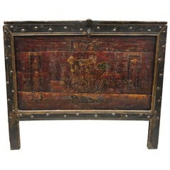 19th Century Red Lacquer Tibetan Mongolian Painted Asian Blanket Chest Grain Bin