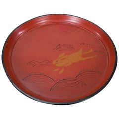 19th Century Red Lacquer Tray with Rabbit Running Over Waves Under Full Moon