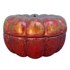 19th Century Red Lacquered Melon Shaped Red Chinoiserie Box