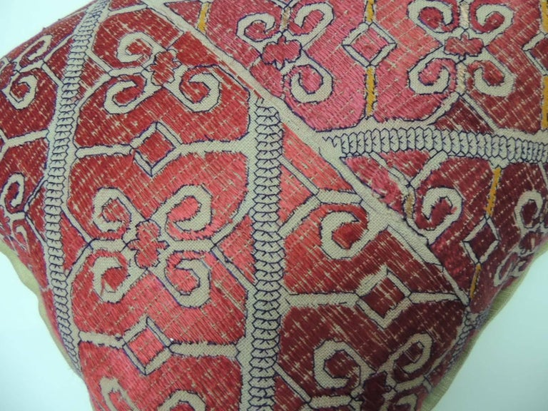 Moorish 19th Century Red Moroccan Embroidery Bolster Decorative Pillow For Sale